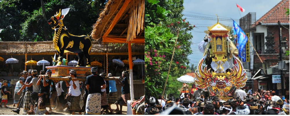 Mourners carrying an ox-shaped coffin and an elaborate golden Waddhu tower