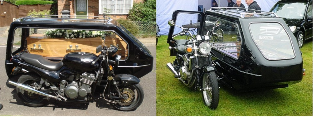 Motorcycle hearses for a funeral