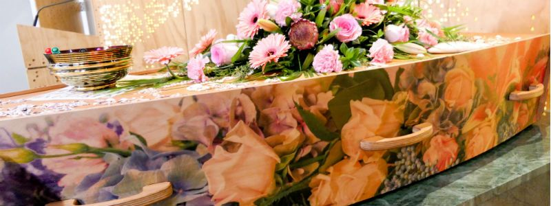 Custom coffin with floral design