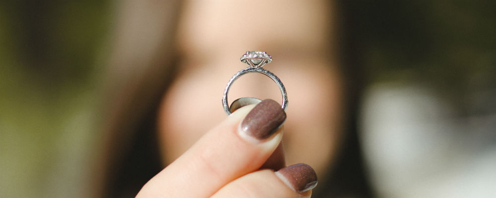 A diamond ring made from the cremation ashes of a loved one